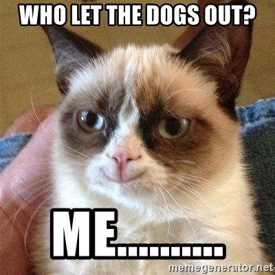 Grumpy Cat Smile - who let the dogs out? me..........