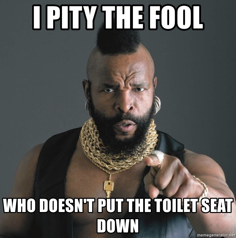 Mr T Fool - I pity the fool who doesn't put the toilet seat down