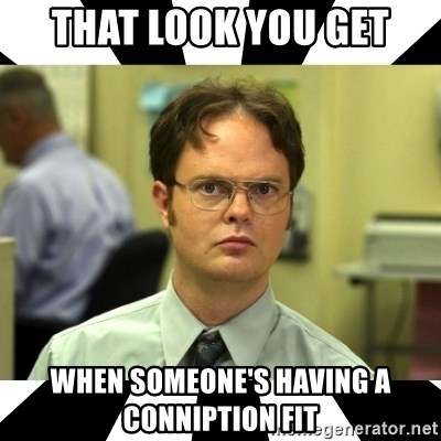 That Look You Get When Someone S Having A Conniption Fit Dwight