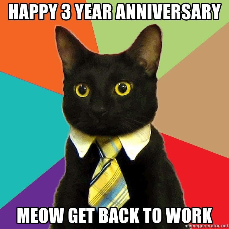 Business Cat - HAPPY 3 YEAR ANNIVERSARY MEOW GET BACK TO WORK