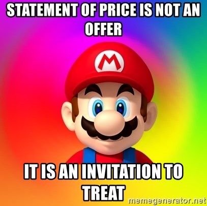 Statement of price is not an offer it is an invitation to treat mario says statement of price is not an offer it is an invitation to treat stopboris Images