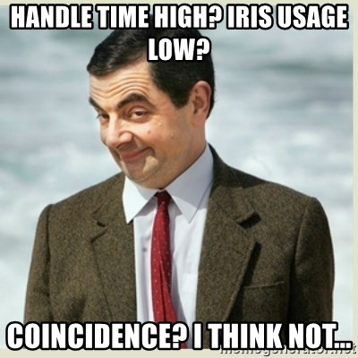 65938221 handle time high? iris usage low? coincidence? i think not mr