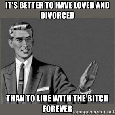 It S Better To Have Loved And Divorced Than To Live With The Bitch