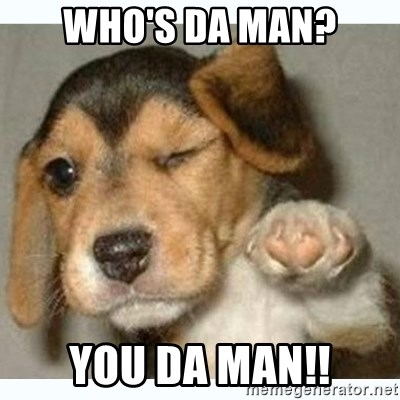 65967223 who's da man? you da man!! fist bump puppy meme generator