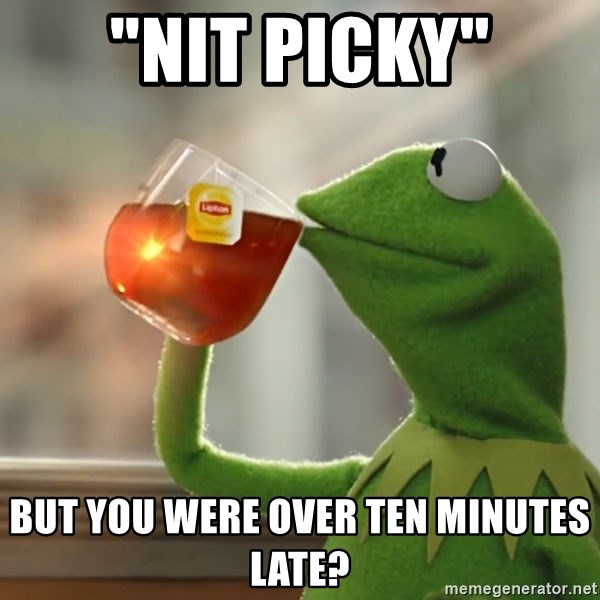 nit picky but you were over ten minutes late kermit the frog