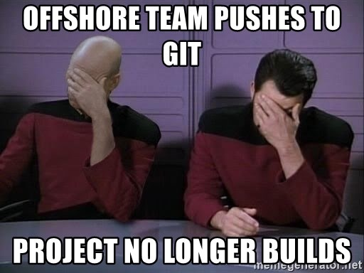 Picard-Riker Tag team - Offshore Team pushes to Git Project no longer builds