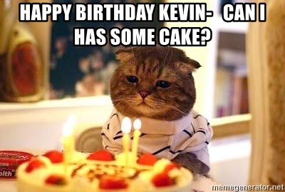 happy birthday kevin can i has some cake Birthday Cat Meme