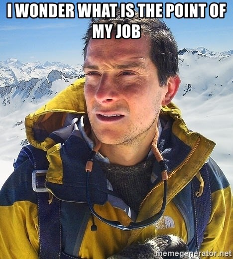 Bear Grylls Loneliness - i wonder what is the point of my job