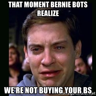 that moment bernie bots realize were not buying your bs that moment bernie bots realize we're not buying your bs crying