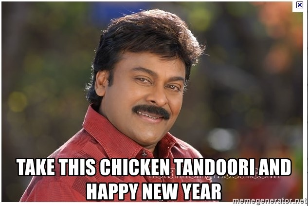 Typical Indian guy - take this chicken tandoori and happy new year