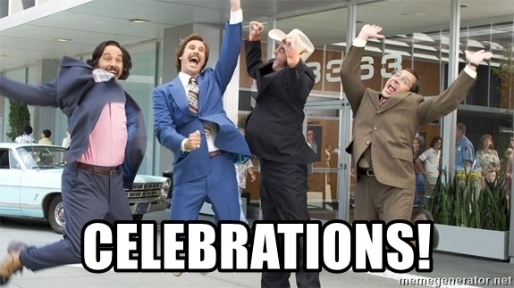 Exaggerated celebration -  Celebrations!