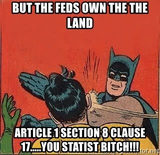 But the Feds own the the land article 1 section 8 clause 17