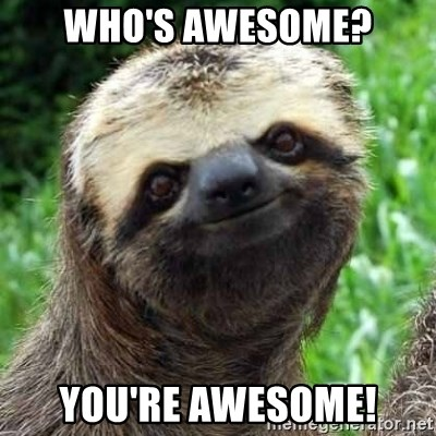 Sarcastic Sloth - Who's Awesome? You're Awesome!