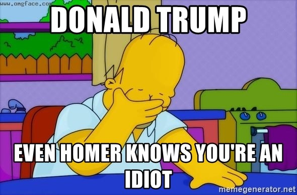 Disappointed Homer Simpson - Donald Trump Even Homer knows you're an idiot