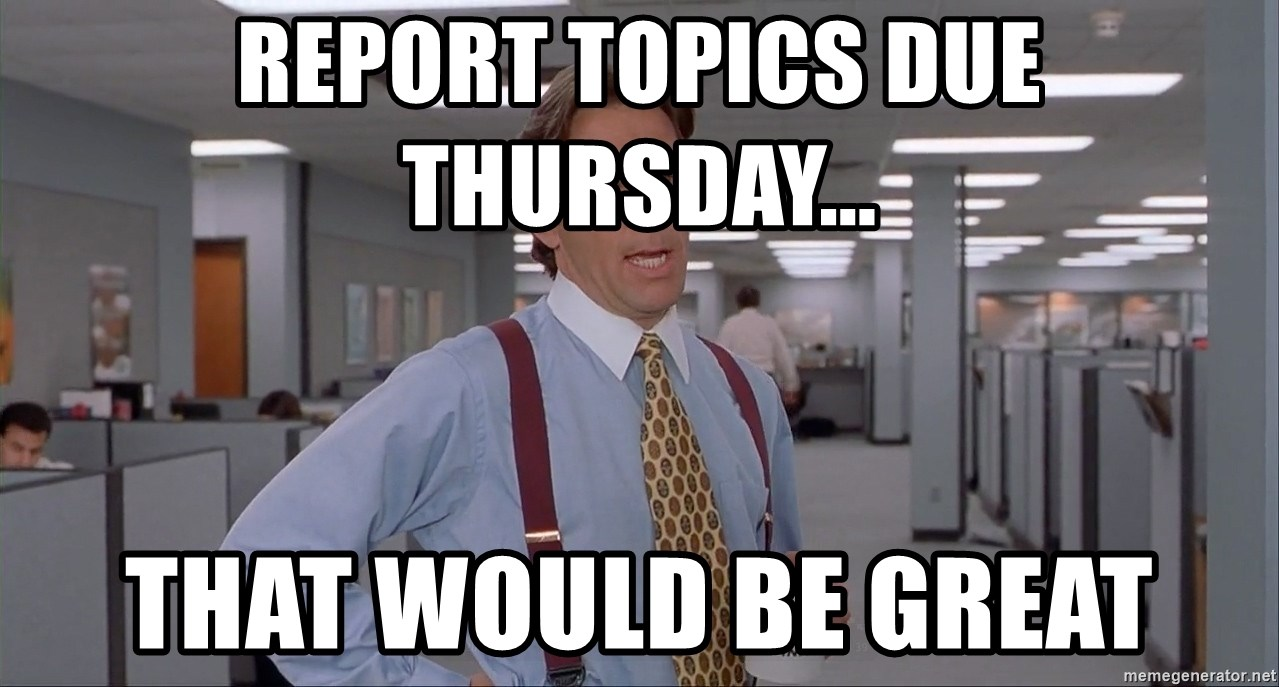 Office Space Meme Blank - Report topics due Thursday... That would be great