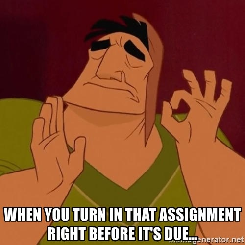 Just Right Pacha  - When you turn in that assignment right before it's due...