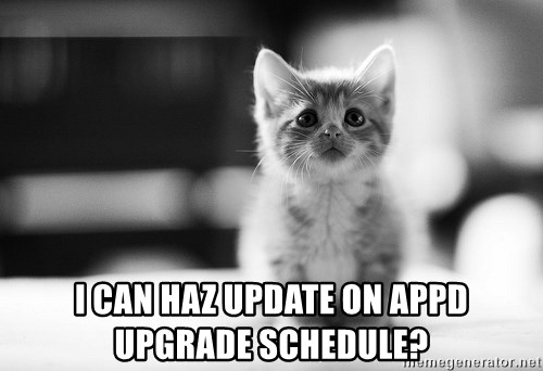 I can haz results nao? - I can haz update on AppD upgrade schedule?