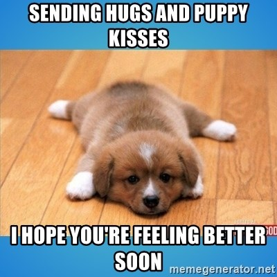 sending hugs and puppy kisses i hope youre feeling better soon sending hugs and puppy kisses i hope you're feeling better soon