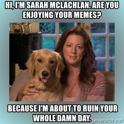 Sarah McLachlan - Hi, I'm Sarah Mclachlan. Are you enjoying your memes?  Because I'm about to ruin your whole damn day.