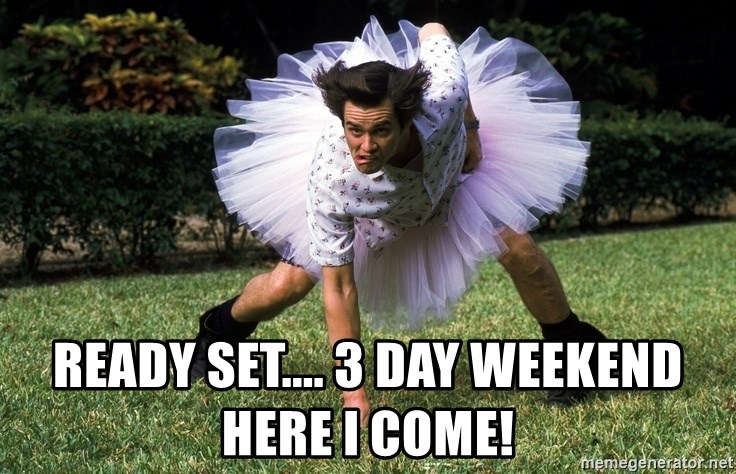 ace ventura football player - ready set.... 3 day weekend here I come!