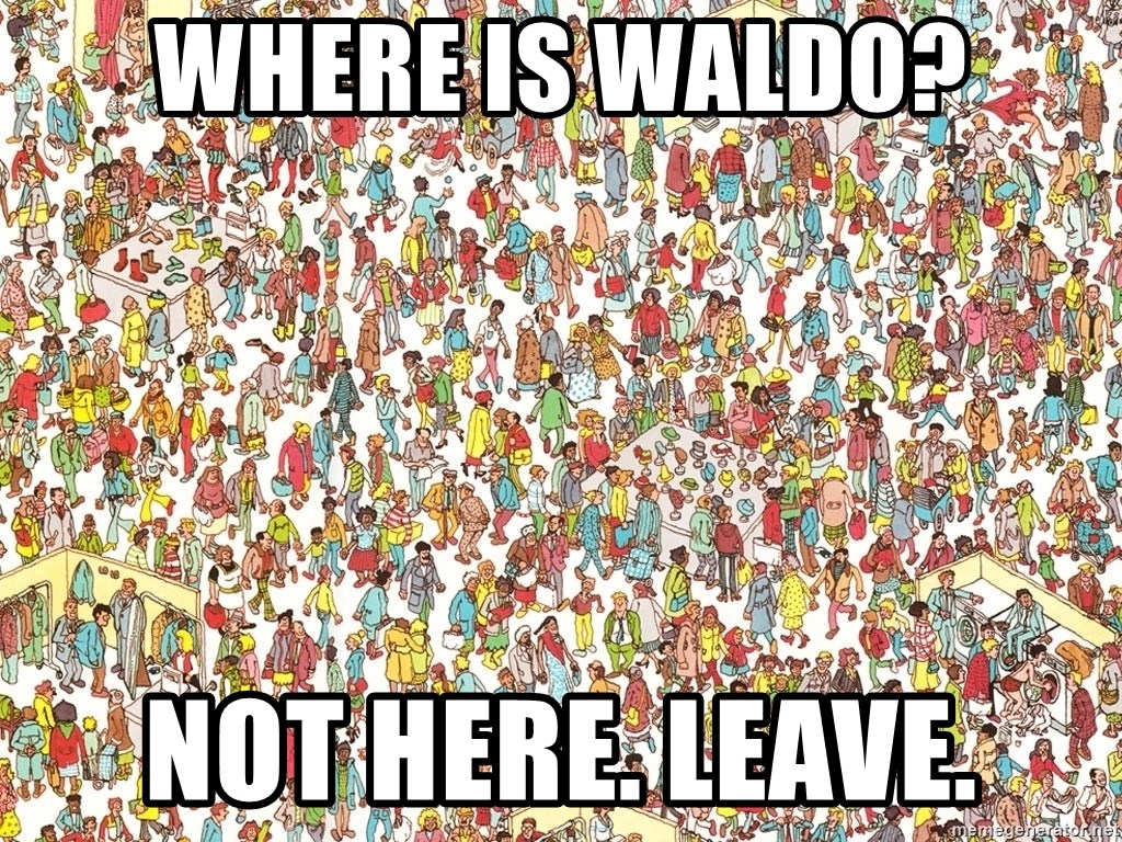 wheres waldo crowd - where is waldo? not here. leave.