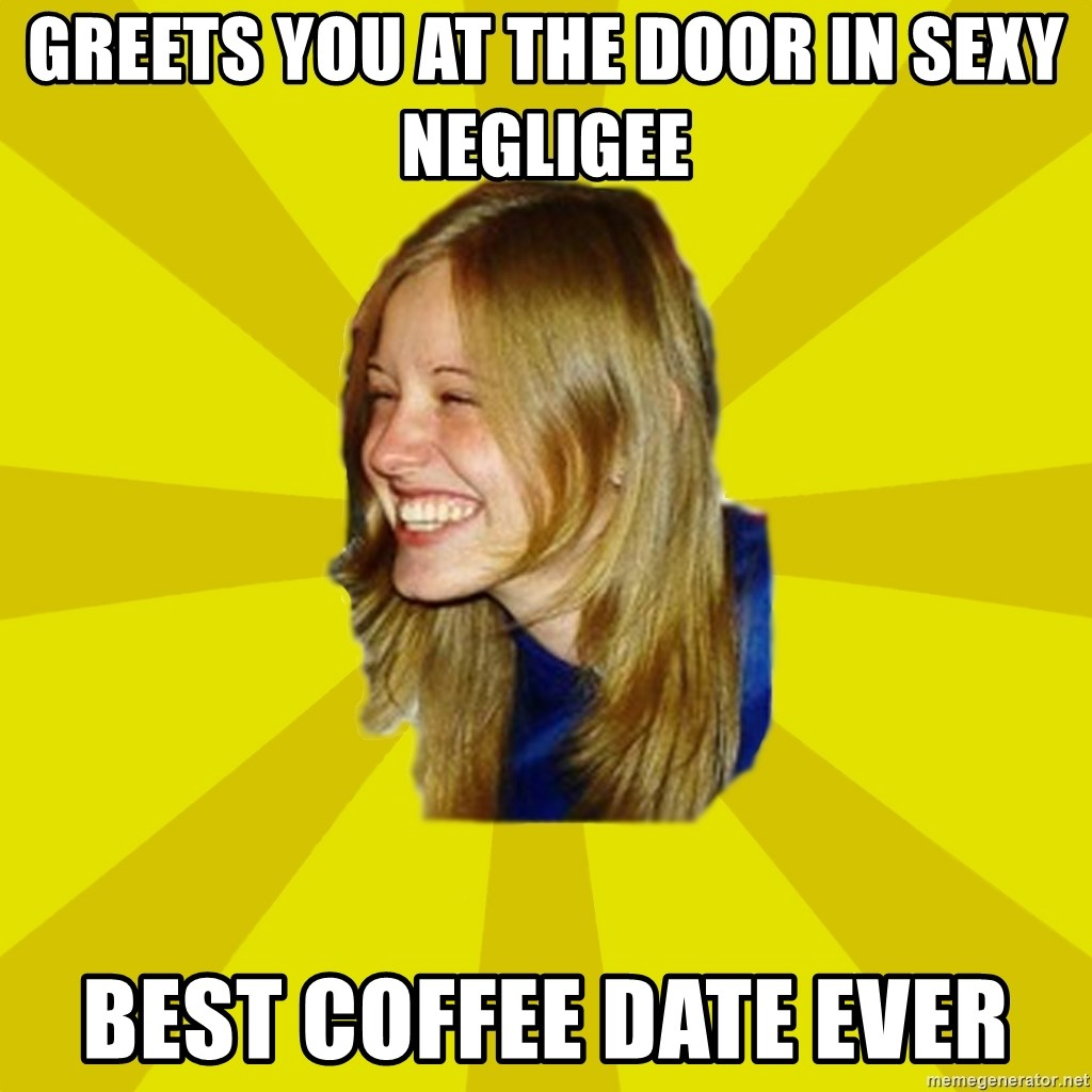 Trologirl - greets you at the door in sexy negligee best coffee date ever