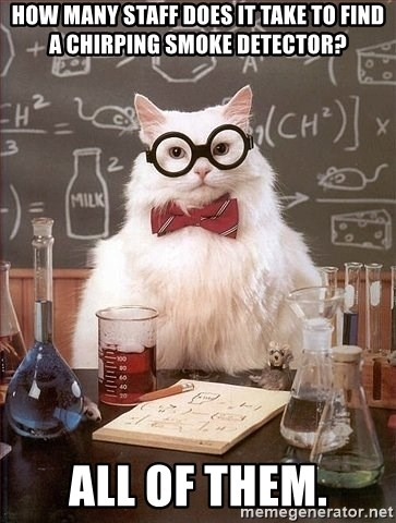 How Many Staff Does It Take To Find A Chirping Smoke Detector All Of Them Chemistry Cat Meme Generator