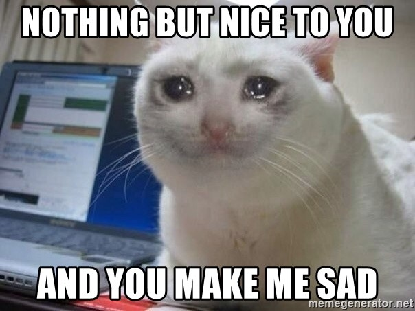 Nothing But Nice To You And You Make Me Sad Crying Cat Meme