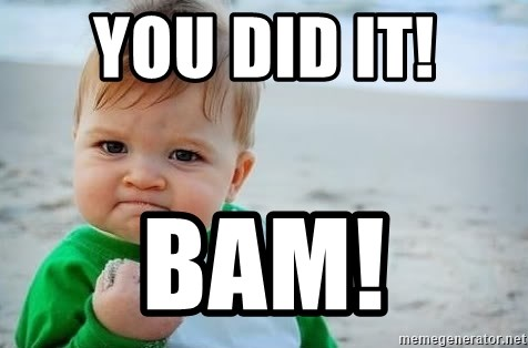 fist pump baby - YOU DID IT!  BAM!