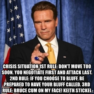Crisis Situation 1st rule: don't move too soon  You negotiate first
