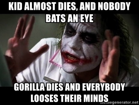 joker mind loss - kid almost dies, and nobody bats an eye gorilla dies and everybody looses their minds