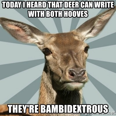 Comox Valley Deer - Today I heard that deer can write with both hooves They're bambidextrous