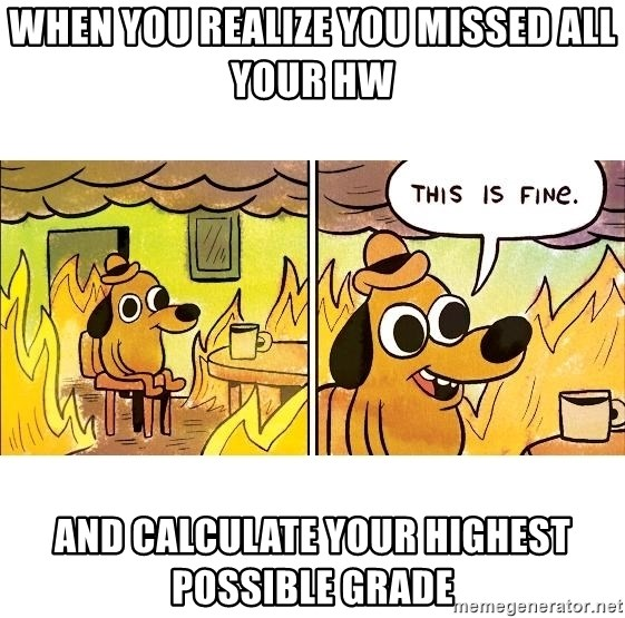 This is fine - When you realize you missed all your HW and calculate your highest possible grade