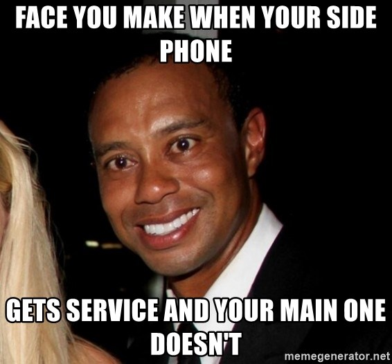 8727120eccd984 face you make when your side phone gets service and your main one doesn t -  Tiger Woods In Pain   Meme Generator