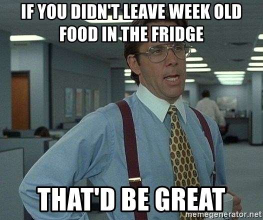 That'd be great guy - If you didn't leave week old food in the fridge That'd be great