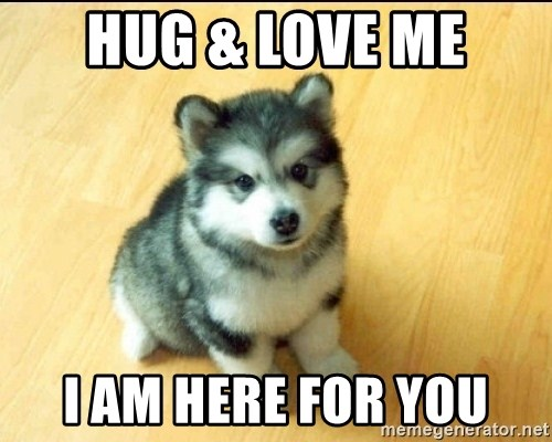 68896767 hug & love me i am here for you baby courage wolf meme generator