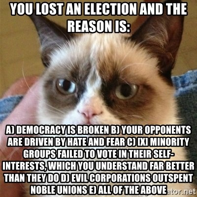 Grumpy Cat  - You lost an election and the reason is: a) democracy is broken b) your opponents are driven by hate and fear c) [x] minority groups failed to vote in their self-interests, which you understand far better than they do d) evil corporations outspent noble unions e) all of the above
