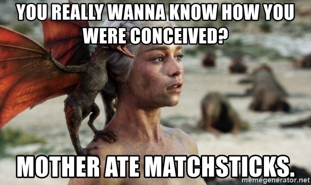 Mother of Dragons - you really wanna know how you were conceived? Mother ate matchsticks.