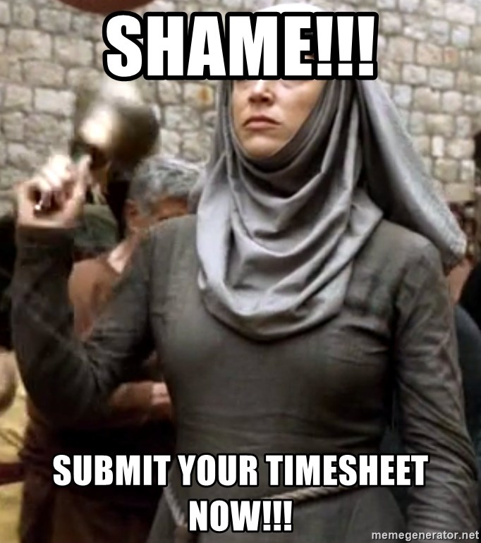 SHAME!!! SUBMIT YOUR TIMESHEET NOW!!!