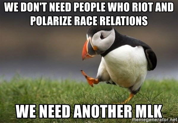 Unpopular Opinion Puffin - We don't need people who riot and polarize race relations We need another MLK