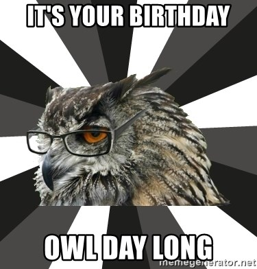 its your birthday owl day long it's your birthday owl day long itcs owl meme generator