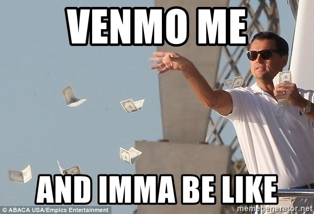 Leo Dicaprio throwing money, over the text