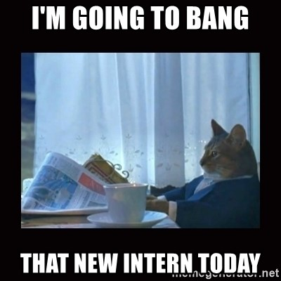 i should buy a boat cat - i'm going to bang that new intern today