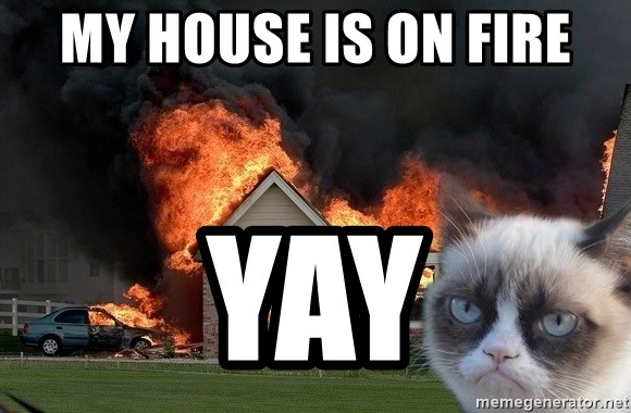 grumpy cat 8 - my house is on fire yay