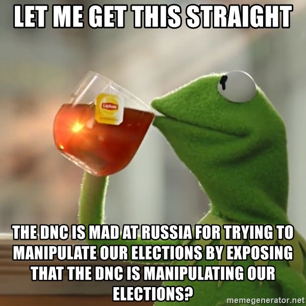 Kermit The Frog Drinking Tea - Let me get this straight The DNC is mad at russia for trying to manipulate our elections by exposing that the DNC is manipulating our elections?