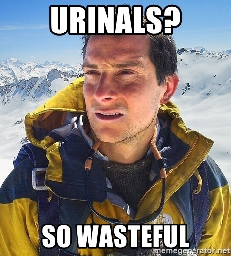 Bear Grylls Loneliness - Urinals? So wasteful