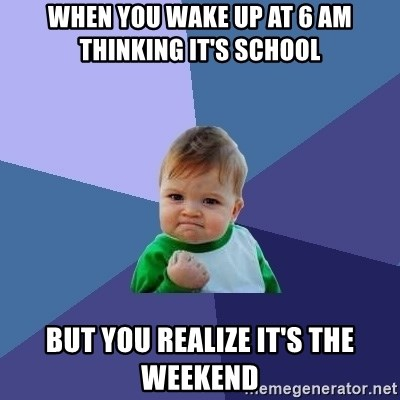 when you wake up at 6 am thinking it's school but you realize it's the weekend - Success Kid | Meme Generator