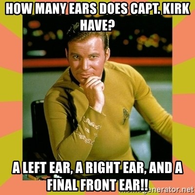 Image result for how many ears does captain kirk have