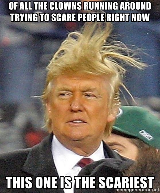 Donald Trump wild hair - Of all the clowns running around trying to scare people right now This one is the scariest