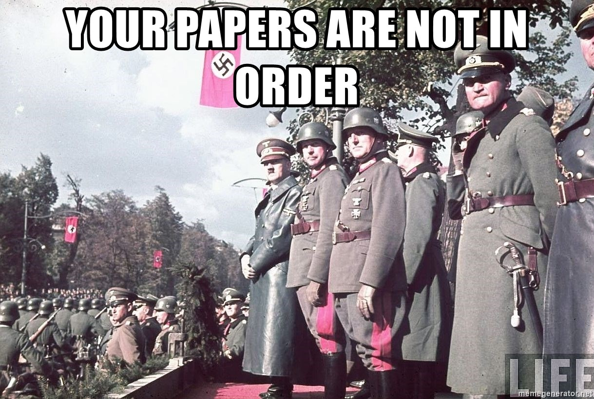 your papers are not in order